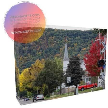 Winona Minnesota Canvas Wrap Fall at South Baker Street, 5 x 7 - Kari Yearous Photography KetoLaughs