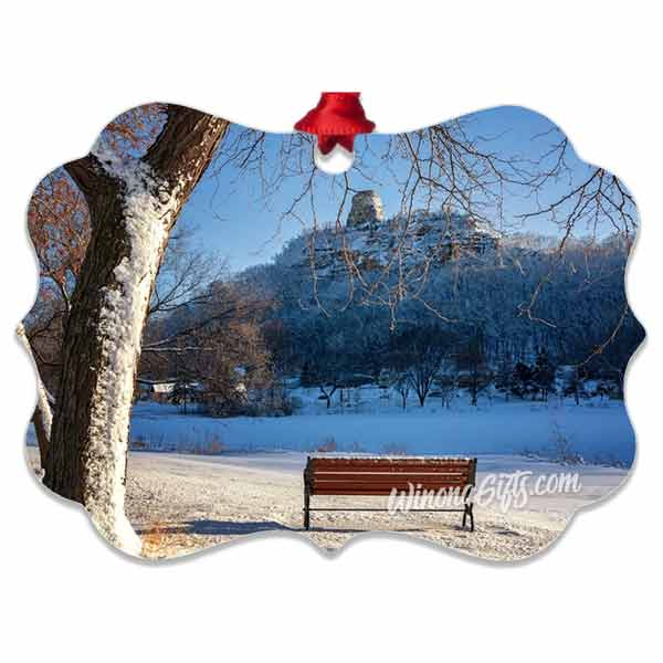 Winona MN Metal Ornament, Snowy Sugarloaf with Bench - Kari Yearous Photography WinonaGifts KetoGifts LoveDecorah