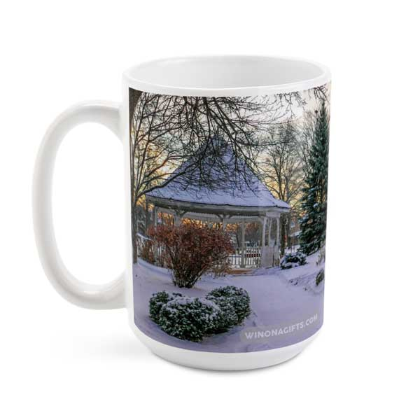 Winona Minnesota Coffee Mug Snowy Gazebo at Windom Park, 15 oz - Kari Yearous Photography WinonaGifts KetoGifts LoveDecorah