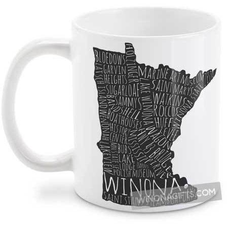 Winona Minnesota Coffee Mug Typography Map - Kari Yearous Photography WinonaGifts KetoGifts LoveDecorah