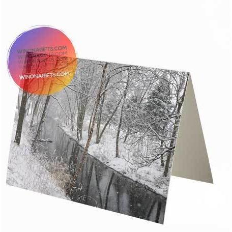 Winona MN Notecard Snowfall at Gilmore Creek, 1 pk or 5 pk - Kari Yearous Photography WinonaGifts KetoGifts LoveDecorah