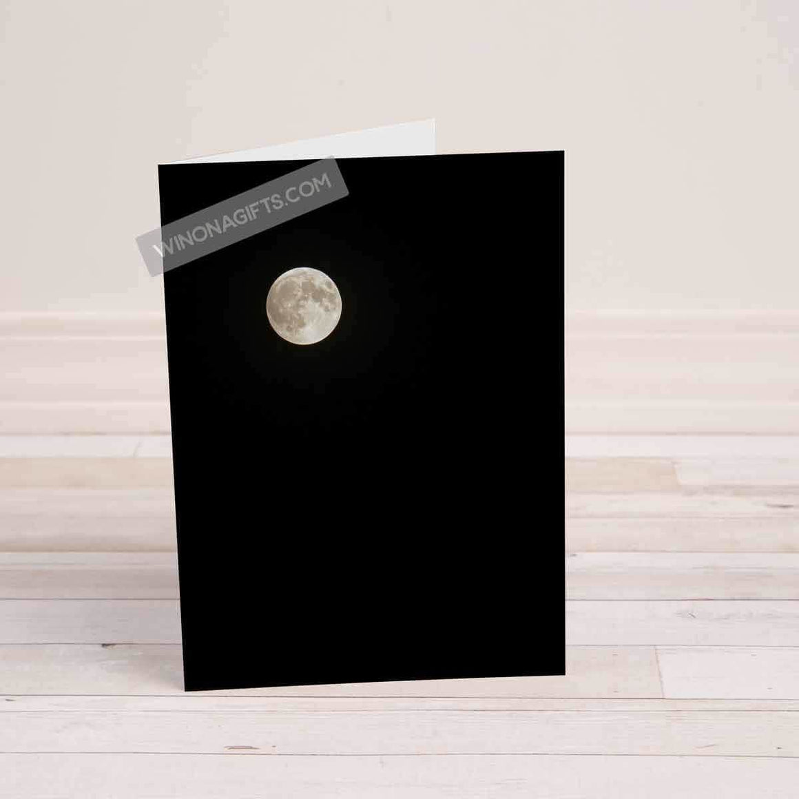 Folded Card Moon over Winona, Minnesota - Kari Yearous Photography WinonaGifts KetoGifts LoveDecorah