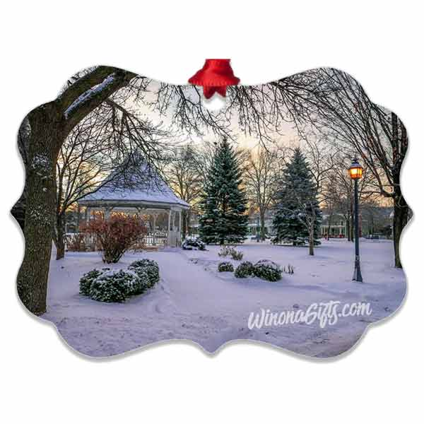 Snowy Gazebo Aluminum Ornament Winona Minnesota - Kari Yearous Photography WinonaGifts KetoGifts LoveDecorah
