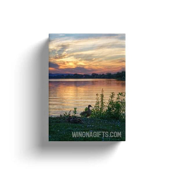 "Canvas Wrap 5"" x 7"" Ducks with Sunset Winona Minnesota - Kari Yearous Photography WinonaGifts KetoGifts LoveDecorah"