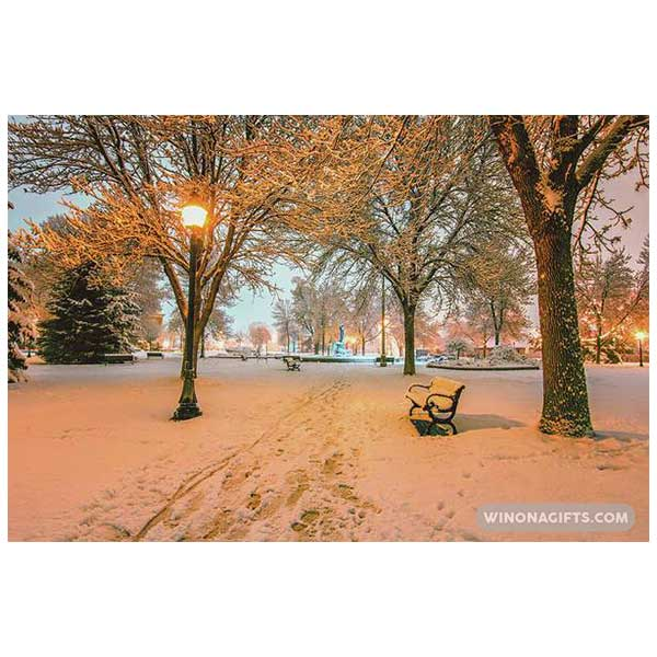 Snowy Path to Wenonah at Windom Park Winona Minnesota - Art Print
