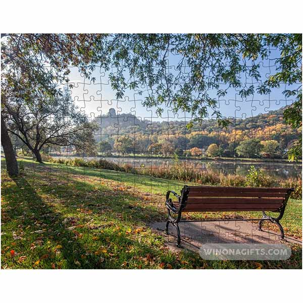 Winona Minnesota Jigsaw Puzzle Seat with a View of Sugarloaf - Kari Yearous Photography WinonaGifts KetoGifts LoveDecorah