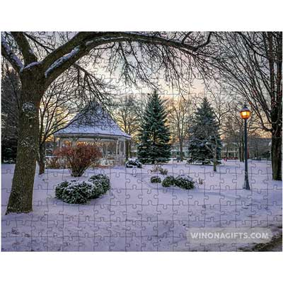 Winona Minn Puzzle Snowy Gazebo Windom Park - Kari Yearous Photography WinonaGifts KetoGifts LoveDecorah