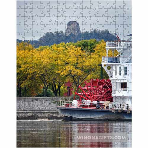 Winona Minn Puzzle Sugarloaf with Paddlewheeler - Kari Yearous Photography WinonaGifts KetoGifts LoveDecorah