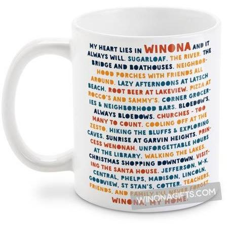 Winona MN Mug My Heart Lies In Winona, Public and Private Schools
