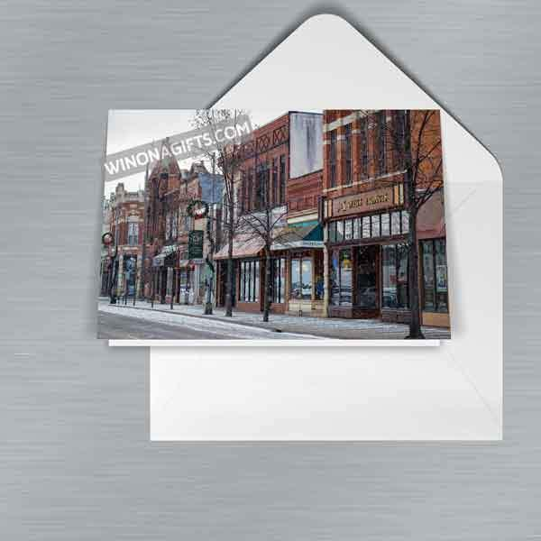 Winona Christmas Card Snowy Third Street, 5-pk - Kari Yearous Photography WinonaGifts KetoGifts LoveDecorah