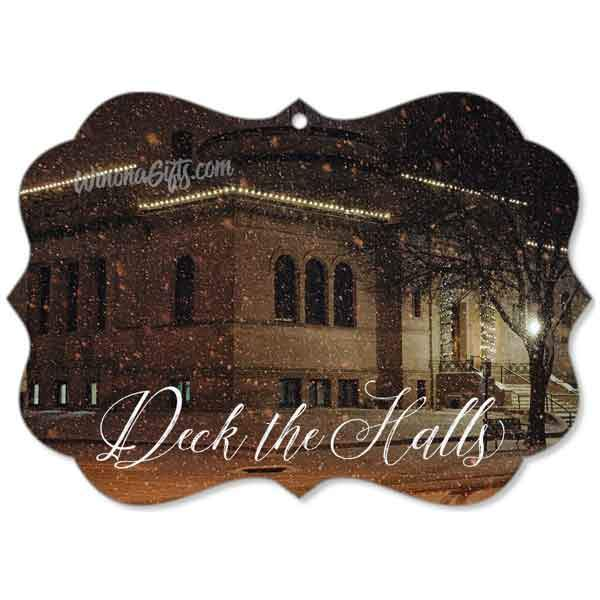 Ornament Winona Public Library Snowy Night - Kari Yearous Photography WinonaGifts KetoGifts LoveDecorah