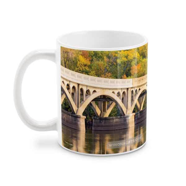 Winona Latsch Island Wagon Bridge Coffee Mug 15 oz - Kari Yearous Photography WinonaGifts KetoGifts LoveDecorah