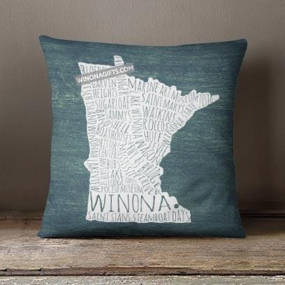 "Winona Minnesota Pillow Typography Map, 18"" x 18"" - Kari Yearous Photography WinonaGifts KetoGifts LoveDecorah"
