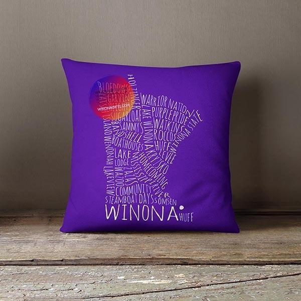 Winona MN Typography Pillow - School Spirit
