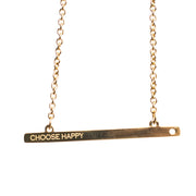 CHOOSE HAPPY GOLD BAR NECKLACE Short Necklace - Jaeci Jewlery