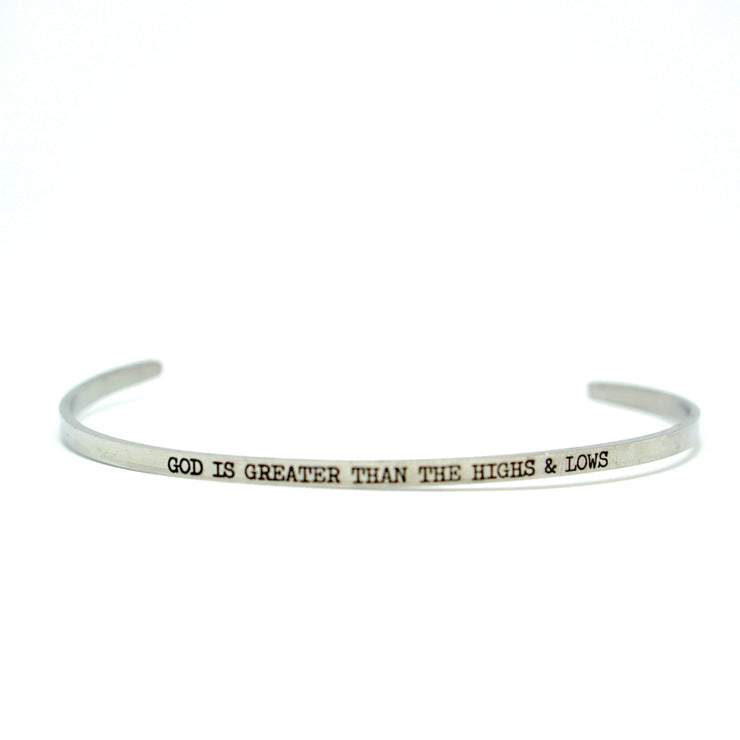 God Is Greater Than The Highs And Lows Bangle Religious Delicate Cuff Bangle - Jaeci Jewlery