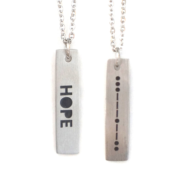 HOPE MORSE CODE MENS NECKLACE Long Necklace - Jaeci Jewlery
