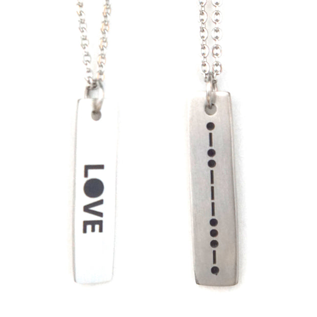 LOVE MORSE CODE MENS NECKLACE Long Necklace - Jaeci Jewlery