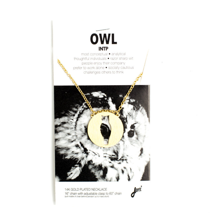 Owl Animal Necklace INTP Spirit Animal Necklace - Jaeci Jewlery