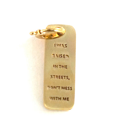 RAISED IN THE STREETS DOG TAG Pet Tag - Jaeci Jewlery