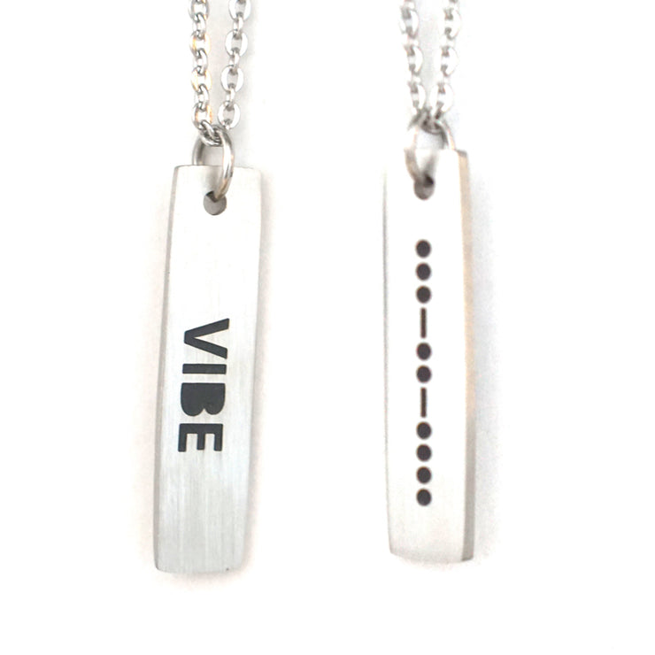 VIBE MORSE CODE MENS NECKLACE Long Necklace - Jaeci Jewlery