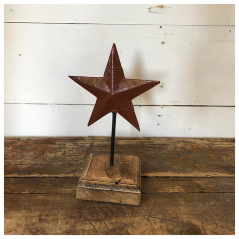 Metal Star with Wooden Base
