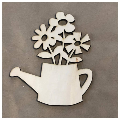 Watering Can with Flowers Laser Cut Out
