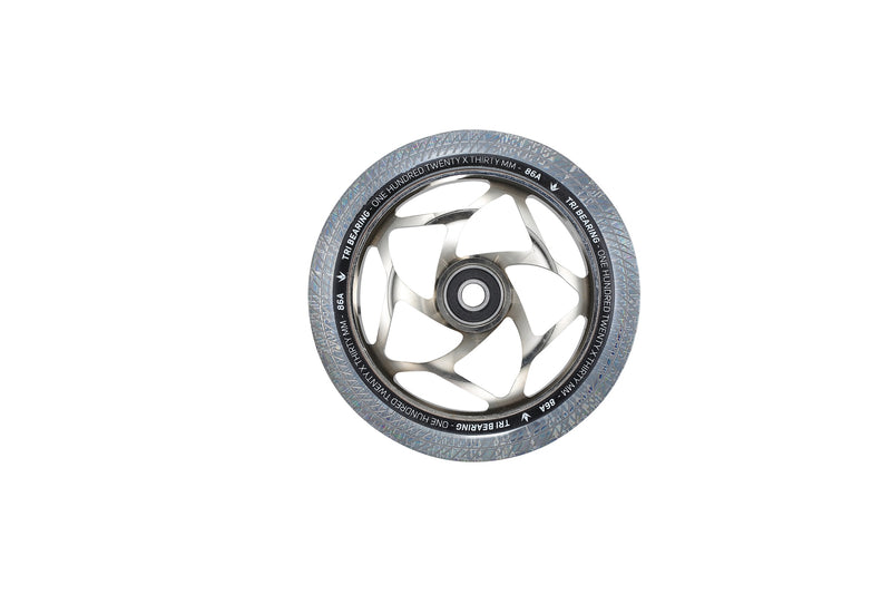 Envy 30 X 120mm Tri Bearing Wheels ( Clear/Silver)