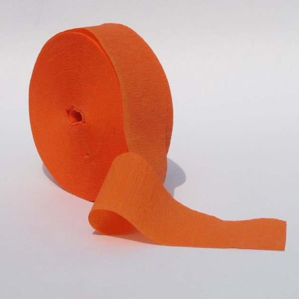 Bright Orange Crepe Paper Streamers 150' Long