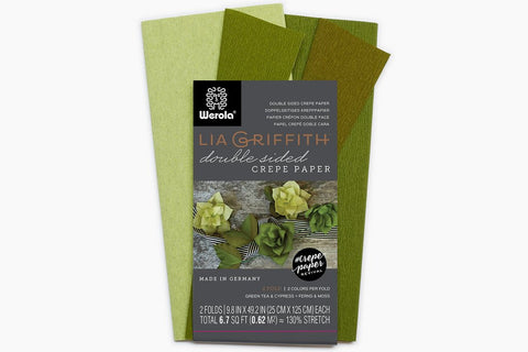 Lia Griffith Extra Fine Crepe Paper - Double Sided 2 Count - Green Tea & Cypress + Fern & Moss