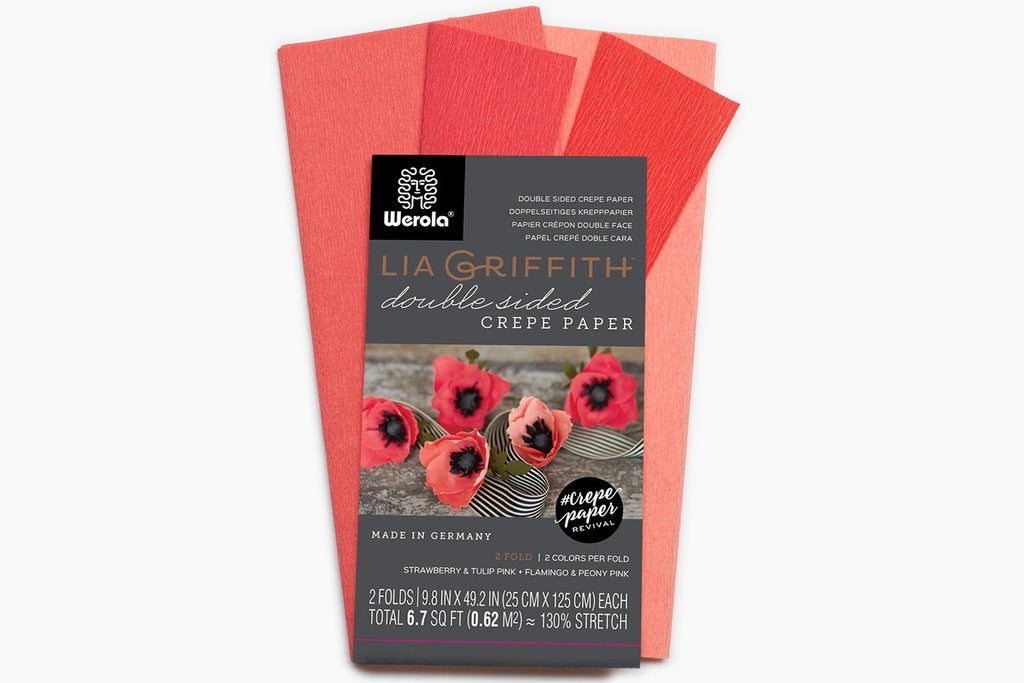 Lia Griffith Extra Fine Crepe Paper - Double Sided 2 Count - Strawberry & Tulip Pink + Flamingo & Peony Pink