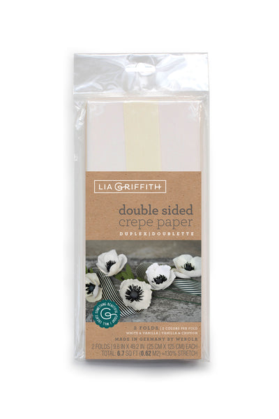 Lia Griffith Extra Fine Crepe Paper - Double Sided 2 Count - White & Vanilla + Vanilla & Chiffon