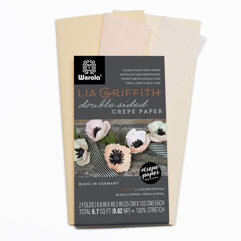Lia Griffith Extra Fine Crepe Paper - Double Sided 2 Count - Blush Chiffon + Petal & Peach