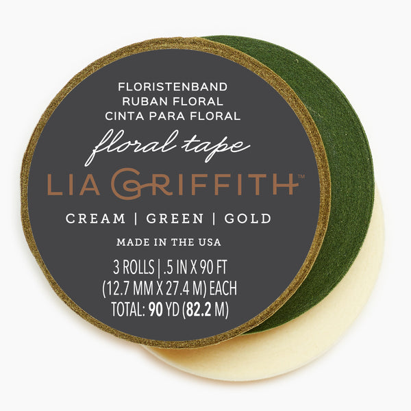 Lia Griffith Floral Tape - Cream + Green + Gold 3-Pack