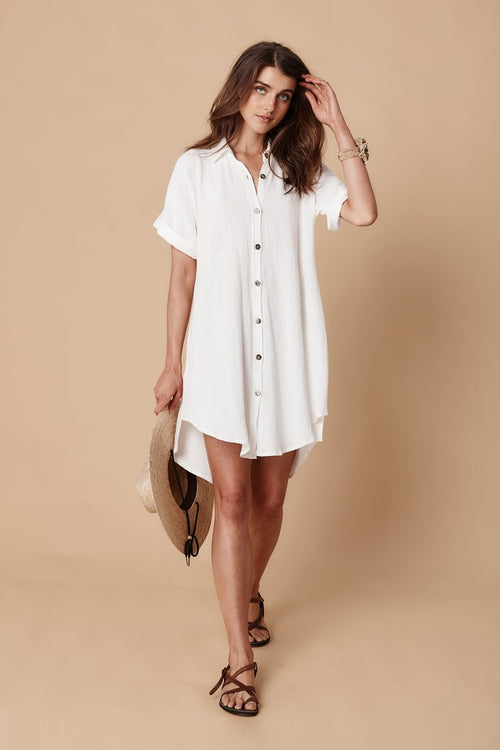 The Saint Helena - Panama Shirt Dress - White Gauze