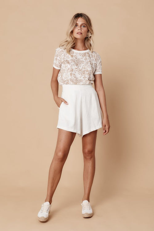 THE SAINT HELENA - Kauai High Waist Short - White Linen