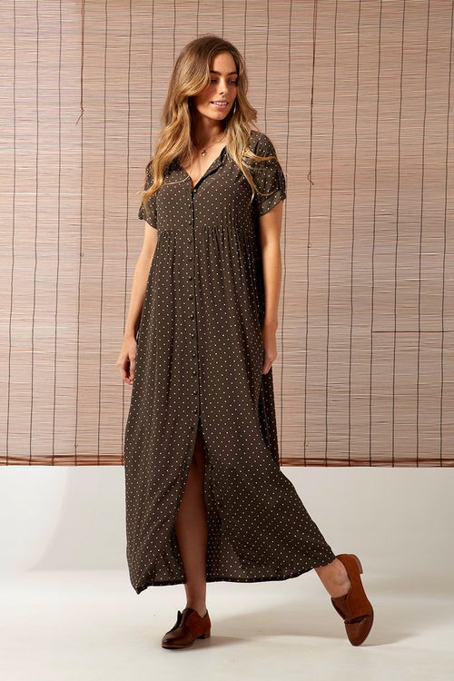 THE SAINT HELENA - Chloe Mom Dress- Olive Polka