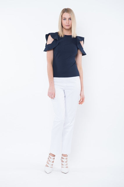 PIPER Cutout Shoulder Top - Navy