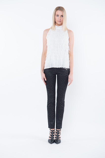 ARIANNA Fringe High Neck Top - Ivory