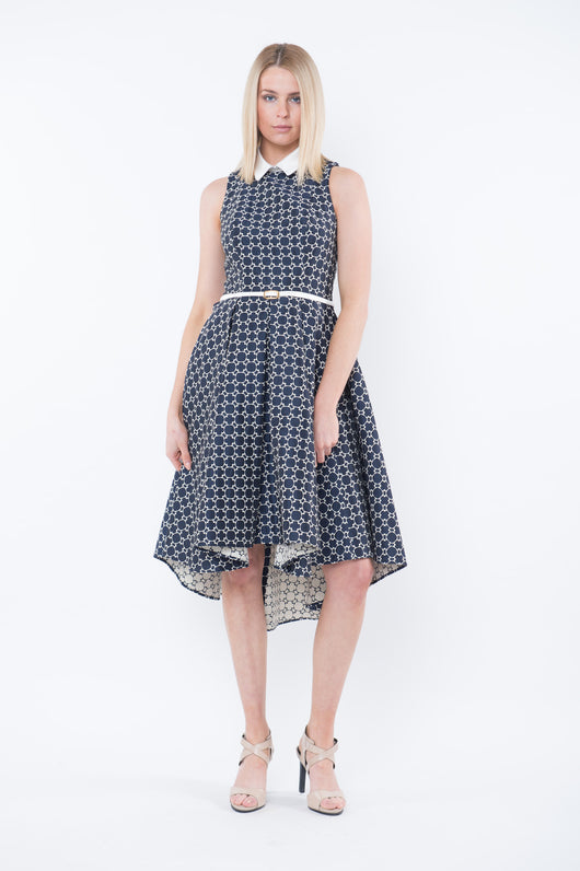 BELLA - Party Dress with Detachable Collar -Navy