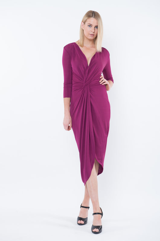 ABIGAIL Draped Midi Dress- Aubergine