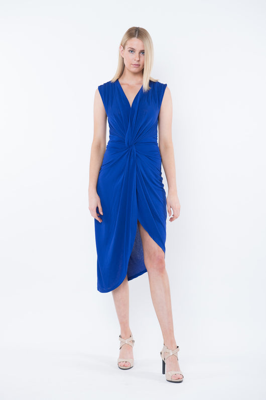 AMANDA Sleeveless Draped Midi Dress - Cobalt