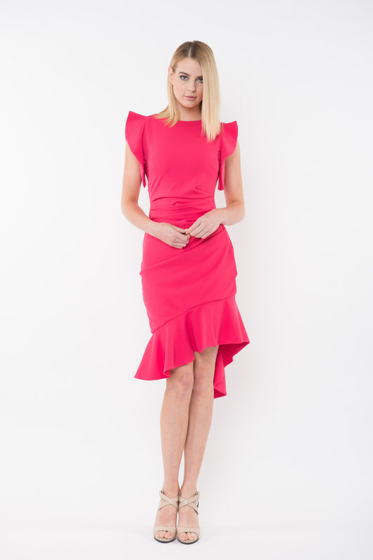 SKYLER Knit Dress with Convertible Sleeve - Watermelon