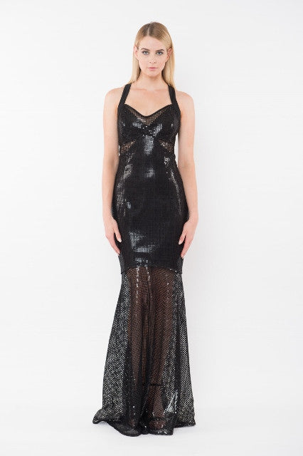 HAZEL Sequin Halter Gown - Black
