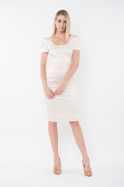 VIOLET Fitted Tuck Cocktail Dress