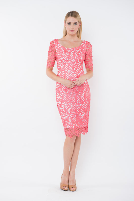 MIKA Camillia Lace Cocktail Dress - Coral