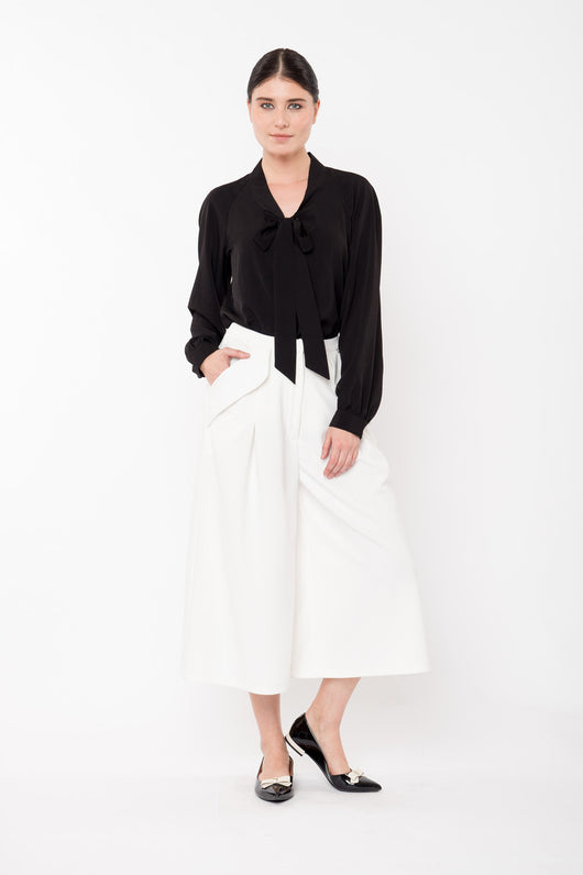 RILEY Wide Leg Pleated Culottes - Ivory