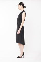 ANGELA Drape Faille Dress - Black