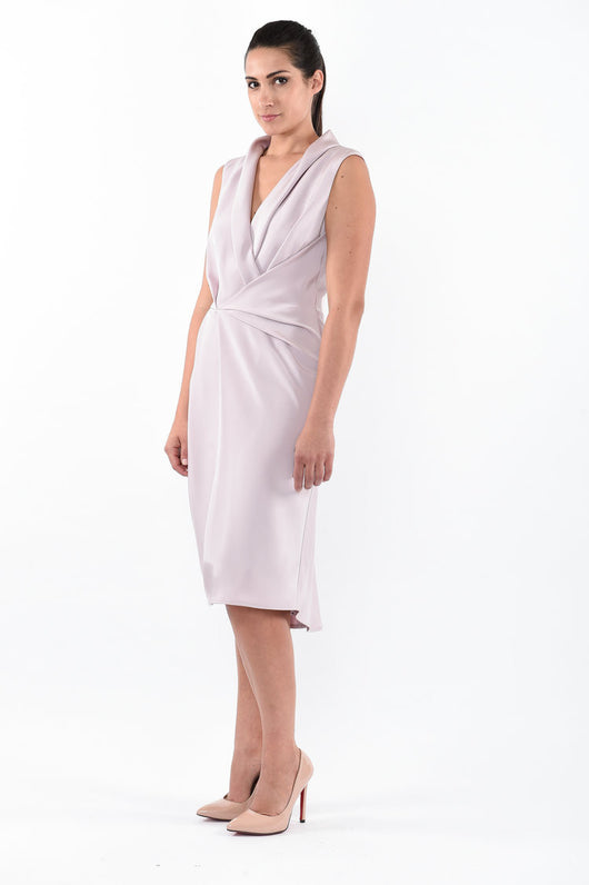 ANGELA Drape Faille Dress - Pearl