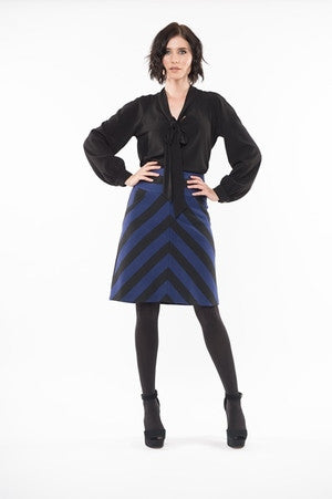 MARTINA Stripe Skirt with Pockets - Black Navy Stripe